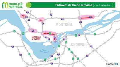 Carte générale des entraves, longue fin de semaine du 4 septembre (Groupe CNW/Ministère des Transports)
