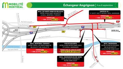 Échangeur Angrignon - autoroute 20, longue fin de semaine du 4 septembre (Groupe CNW/Ministère des Transports)