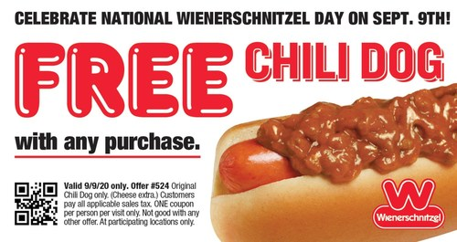 Wienerschnitzel, the largest hot dog chain in the world, is giving guests a delicious reason to celebrate National Wienerschnitzel Day. On September 9th, swing by your nearest location and use this coupon to receive a FREE Chili Dog with purchase.