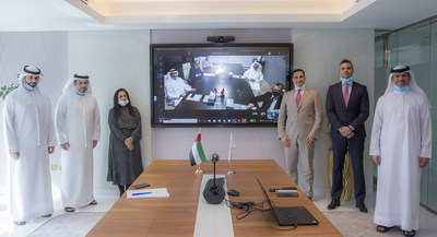 At the virtual signing ceremony, ECI senior officials (left to right) Digital Marketing Manager Ebrahim Bolehyool, Director of Trade Credit Insurance & Export Financing Majed Abdulkarim Julfar, Director of Commercial Underwriting Swarna Lata, CEO Massimo Falcioni, Director of Risk Haitham Al Khazaleh, and Director of IT and Innovation Ali Saleh Al Ali, with senior officials from Emirates Steel on-screen (PRNewsfoto/Etihad Credit Insurance)