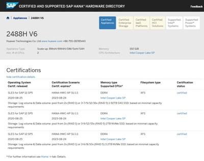 Resultados de la certificación de dispositivos SAP HANA del servidor FusionServer Pro 2488H V6 de Huawei (PRNewsfoto/Huawei)