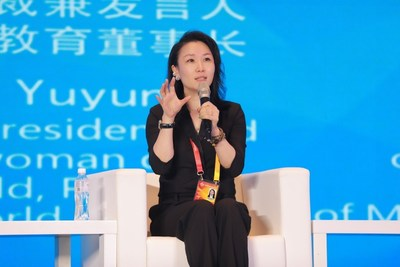 Ruby Wang, senior vice president & spokesperson of Perfect World and chairperson of Perfect World Education, delivers at the round-table dialogue.
