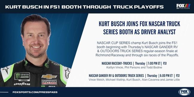 Kurt Busch in the FOX NASCAR Booth Beginning Thursday