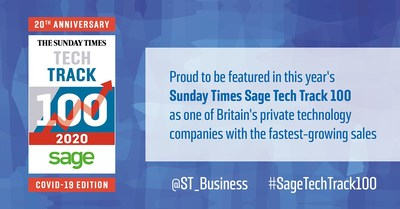 Exclaimer Awarded a Place in Prestigious 20th Anniversary Sunday Times Sage Tech Track 100 League Table