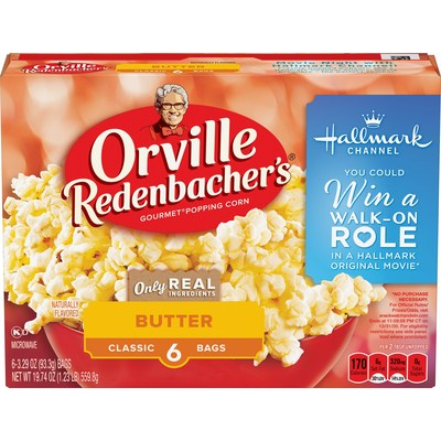 "Orville Redenbacher's® Gourmet Popping Corn, Swiss Miss® Hot Cocoa Mix, and Hallmark Channel have teamed up for the return of the ""Snack, Watch and Win"" Sweepstakes. One grand prize winner will receive a walk-on role in an upcoming Hallmark Channel original movie taping in mid to late 2021, along with a one-year supply of Orville Redenbacher's microwave popcorn. Details can be found on specially marked packages of Orville Redenbacher's."