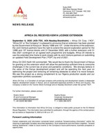 AFRICA OIL RECEIVES KENYA LICENSE EXTENSION (CNW Group/Africa Oil Corp.)