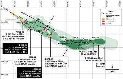 Figure 2 - Plan View of Main Zone Nickel Resource including Newly Defined Higher Grade (>0.35% nickel) Mineralization, Crawford Nickel-Cobalt Sulphide Project, Ontario. (CNW Group/Canada Nickel Company Inc.)