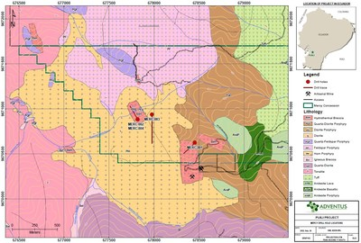 Figure 1: Mercy Drill Hole Location Map (CNW Group/Adventus Mining Corporation)