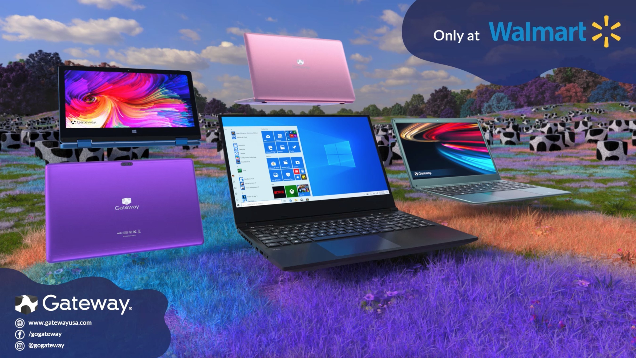 Iconic Cow Spotted Gateway Pc Brand Returns With Full Line Of Laptops Sold Exclusively At Walmart Com