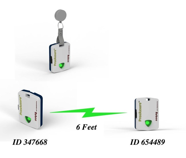 Battery lasts seven days before recharge. Configurable 6-foot or 3-foot alarms, data logs for ID distance date and time uploaded to ProxAssure.com. Alarms can be configured to a new distance or be deactivated based on the digital subnet in the tag. No personal identity information is stored in the tag.