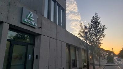 Apothca's Arlington adult-use dispensary at sunset