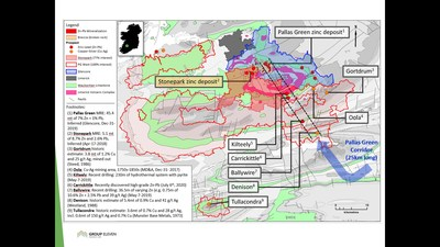 Exhibit 1. Location of the Stonepark Zinc Project (and adjacent PG West Project), south-west Ireland (CNW Group/Group Eleven Resources Corp.)