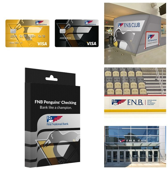 Renderings highlighting F.N.B.'s naming rights at PPG Paints Arena as well as planned Pittsburgh Penguins co-branded banking products and services.