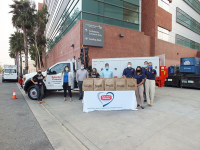Representatives from SuburbanPropane, the Los Angeles Chargers and Lazy Dog Restaurant & Bar deliver 1,000 complete meals – enough to feed the entire night staff at Children's Hospitalof Los Angeles on September 9th.