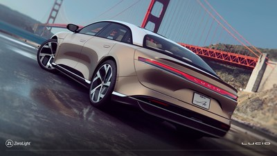 An image of the Lucid Air in San Francisco taken from the configurator