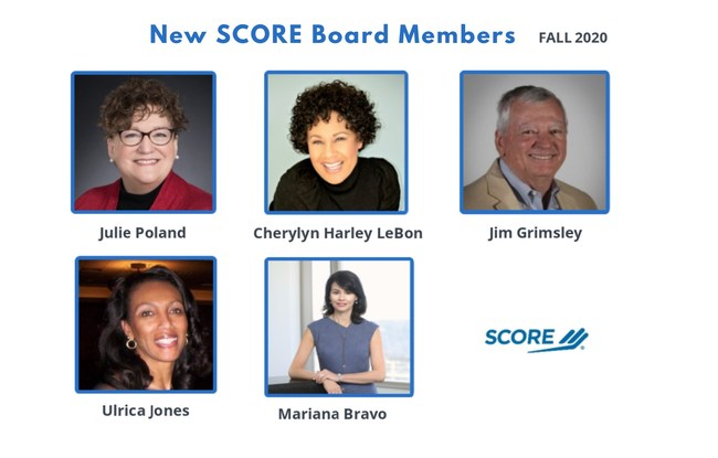 SCORE, the nation's largest network of volunteer, expert business mentors, is pleased to announce the appointment of five new members to its board of directors, which helps guide the organization in its mission to foster vibrant small business communities through mentoring and education.