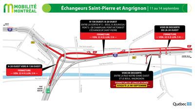 A20 ouest et échangeur Angrignon, fin de semaine du 11 septembre (Groupe CNW/Ministère des Transports)