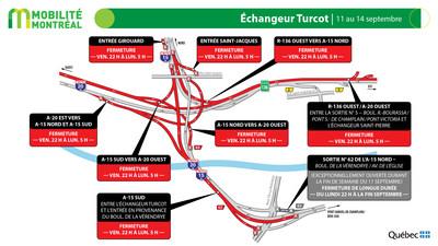 Échangeur Turcot, fin de semaine du 11 septembre (Groupe CNW/Ministère des Transports)