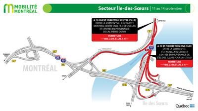 A15 sud et secteur Île des Sœurs, fin de semaine du 11 septembre (Groupe CNW/Ministère des Transports)