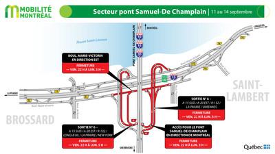 Échangeur A10 / R132 / pont Samuel-De Champlain, fin de semaine du 11 septembre (Groupe CNW/Ministère des Transports)