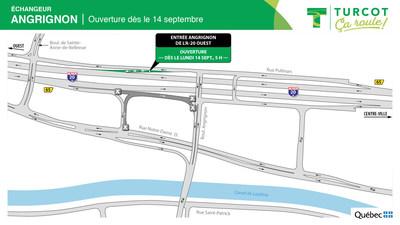 Ouverture dans l'échangeur Angrignon lundi 14 septembre (Groupe CNW/Ministère des Transports)