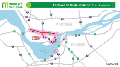 Carte générale des entraves, fin de semaine du 11 septembre (Groupe CNW/Ministère des Transports)