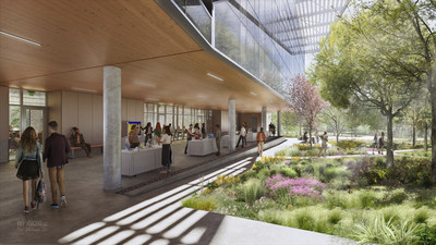 Rendering of the new 52,550 square foot STEM Building currently under construction at Northwest Vista College, part of the Alamo Colleges District in San Antonio. Courtesy of Overland Partners