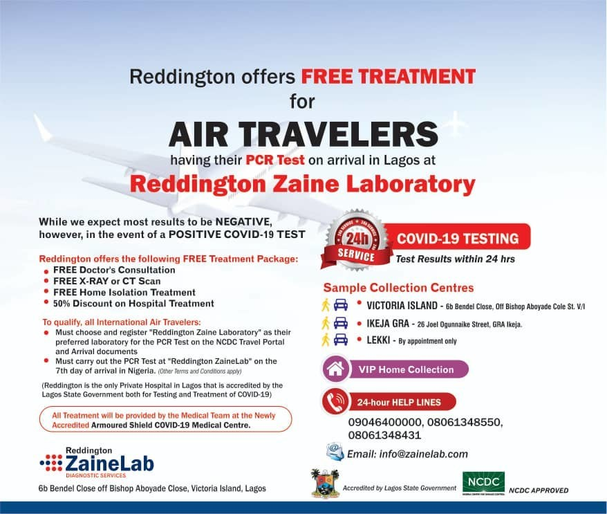 International Air Travelers To Access Free Covid 19 Treatment At The Newly Accredited Reddington S Armoured Shield Medical Centre