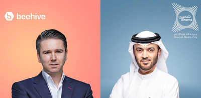 Craig Moore, Founder and CEO of Beehive and H.E Dr. Khalid Omar Al Midfa, Chairman of Sharjah Media City (Shams)