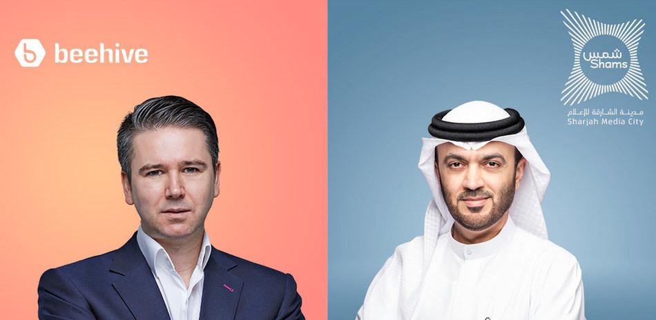 Craig Moore, Founder and CEO of Beehive and H.E Dr. Khalid Omar Al Midfa, Chairman of Sharjah Media City (Shams)