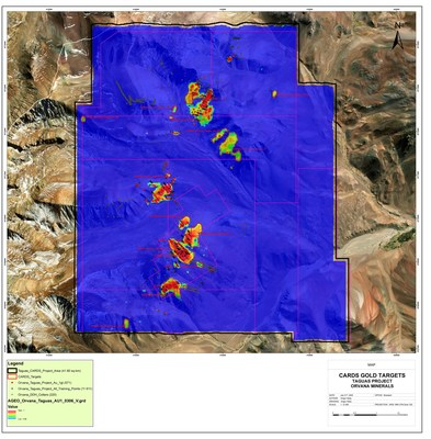 Figure 1. Taguas Property CARDS Gold Targets (CNW Group/Orvana Minerals Corp.)
