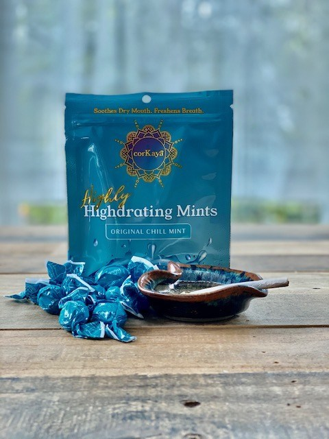 corKaya Highly Highdrating Mints come individually wrapped, 10 to a pack.