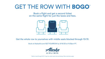 Alaska Airline's 'Get the Row with BOGO' is back! Get the whole row for you and your guest with the middle seat blocked through Oct. 31, 2020