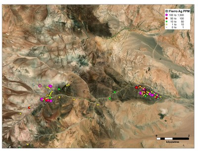 Figure 2. Total sampling at Fierro Bajo and Fierro Alto zones with Ag values (CNW Group/Sable Resources Ltd.)