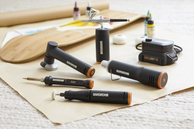 Worx today unveiled its new MakerX precision power tool line that revolves around a 20V Power Hub battery that powers five compact tools, including an air brush, angle grinder, mini heat gun, wood and metal crafter and rotary tool, for unlimited possibilities for creativity.
