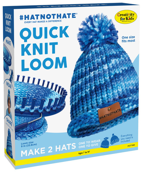 The #HatNotHate Quick Knit Loom kit allows crafters of any skill level to create two EZ-knit blue hats. Blue hats are the key assets of the #HatNotHate campaign.