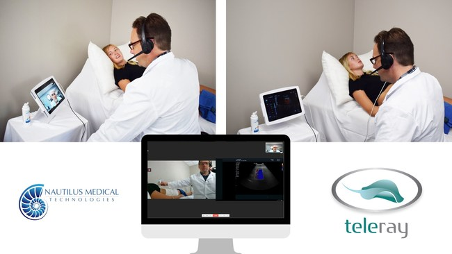 Sonographer scanning patient with specialist reviewing the scan in real-time.