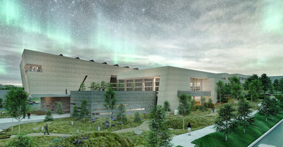 A preview of the renewed Montana Heritage Center at twilight.