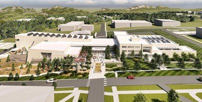 Aerial view rendering of the expanding Montana Heritage Center showcasing the melding of the new and historic structures.