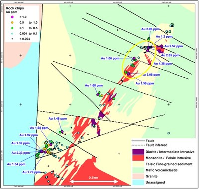 Map 1 – Anagulu Gold/Copper Prospect Results of Rock Chip Sampling – Gold Values (CNW Group/Baltic I Acquisition Corp.)