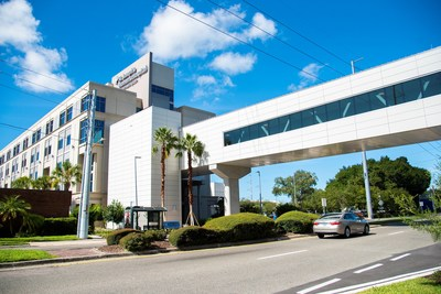Part of St. Joseph's Hospital's $126 million dollar expansion includes a pedestrian bridge across  Dr. Martin Luther King Jr. Blvd. in Tampa, connecting the main campus with St. Joseph's Women's Hospital.