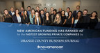 New American Funding Ranked as #2 Fastest-Growing Company by Orange County Business Journal