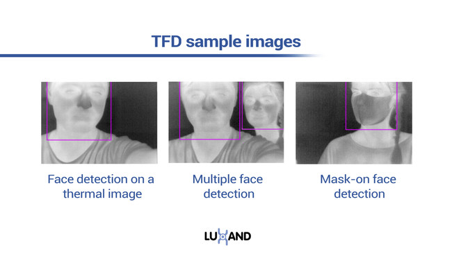 Thermal Face Detection sample images showing single face detection, multiple face detection and mask-on face detection.