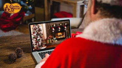 Santa's sneak peek of the Cracker Barrel-inspired, virtual holiday backgrounds.