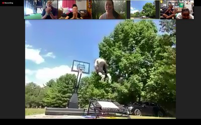 Lucky's driveway dunk show during Fit to Win virtual finale event.