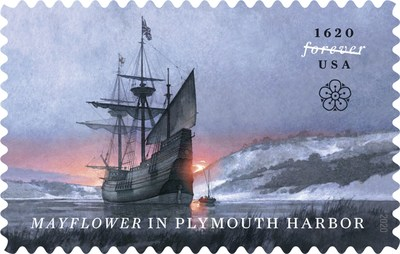 The U.S. Postal Service celebrates the 400th anniversary of the Mayflower landing off the coast of New England.