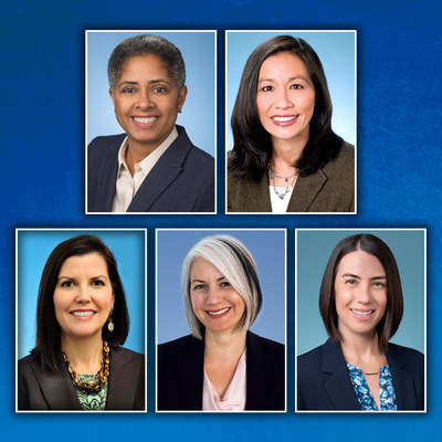 Top row: Kali Bracey and Carissa Coze; Bottom row: Gayle E. Littleton, Erin R. Schrantz, and Kate T. Spelman