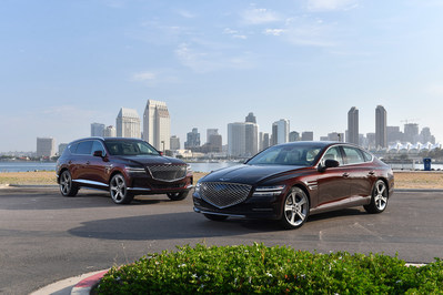 1)The all-new 2021 Genesis GV80 SUV (Left) and 2021 G80 (right) share the same Genesis – exclusive all-new rear-wheel drive platform.