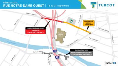Entraves sur le réseau local - Rue Notre-Dame Ouest (Groupe CNW/Ministère des Transports)