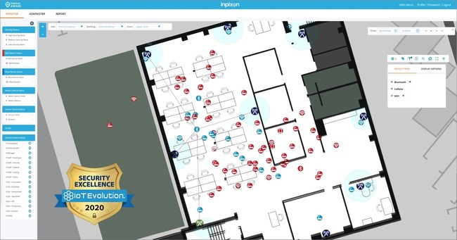 Award-winning Inpixon Aware uses sensors to track the location and movements of Wi-Fi, BLE, UWB and cellular devices -- both on and off network -- to enhance situational awareness, identify unauthorized devices, enforce no-phone zones and more.